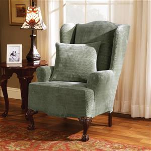 Sure Fit Royal Diamond Wing Chair Cover - 29-in x 42-in - Sage