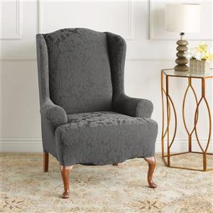 Sure Fit Jacquard Damask Wing Chair Cover - 29-in x 42-in - Grey