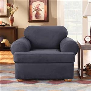 Sure Fit Stretch Suede Chair Cover - 48-in x 37-in - Storm Blue