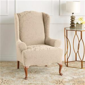 Sure Fit Jacquard Damask Wing Chair Cover - 29-in x 42-in - Oyster