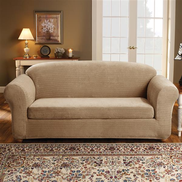 Sure Fit Royal Diamond Sofa Cover - 96-in x 37-in - Cream