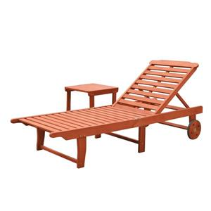 Vifah Malibu Outdoor Patio Wood Beach & Pool Lounge Set - 2 pcs