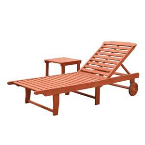 Chaise longue avec table d'appoint en bois Malibu de Vifah, 2 mcx