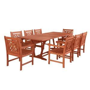 Ensemble de table à manger d'extérieur extensible Malibu de Vifah, 9 mcx