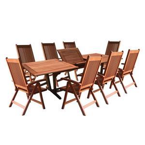 Ens. de table à manger d'extérieur extensible Malibu de Vifah, bois dur, 9 mcx