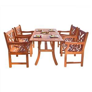 Vifah Malibu Outdoor Wood Dining Set - 5-pcs