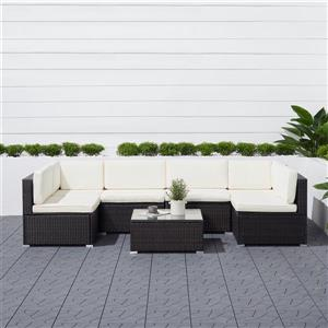 Vifah Venice Classic Wicker Sectional Sofa - 6 pcs