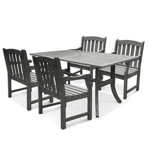 Ensemble de table à dîner de bois Renaissance de Vifah, 5 mcx