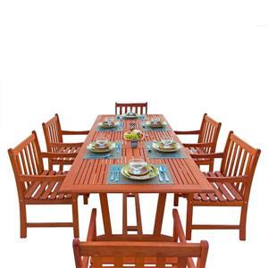Ens. de table à dîner extensible pour patio Malibu de Vifah, bois dur, 7 mcx