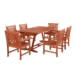 Vifah Malibu Outdoor Wood Wood Extendable Table Dining Set - 7-pcs