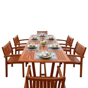 Vifah Malibu Dining Set Extension Table & Stacking Chairs - 7-pcs