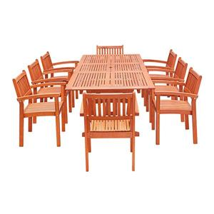 Vifah Malibu Dining Set Extension Table & Stacking Chairs - 9-pcs