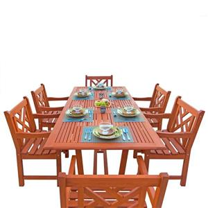 Vifah Malibu Outdoor Wood Dining Set with Extension Table - 7-pcs