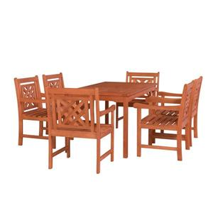 Vifah Malibu Outdoor Wood  Rectangular Table Dining Set - 7-pcs