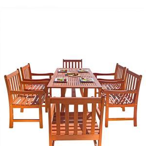Vifah Malibu Wood Dining Set with Curvy Leg Table - 7-pcs