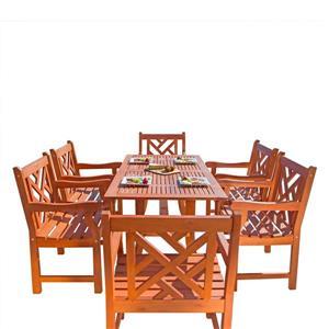 Ensemble à dîner Malibu de Vifah avec chaises courbées, 7 mcx