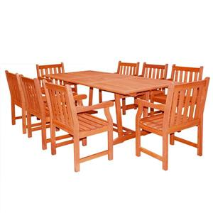 Vifah Malibu Outdoor Wood Dining Set with Extension Table - 9-pcs