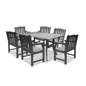 Vifah Renaissance Outdoor Wood Hand-scraped Dining Set - 7-pcs