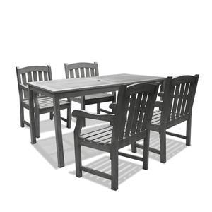 Vifah Renaissance Outdoor Wood  Hand-scraped Dining Set - 5-pcs