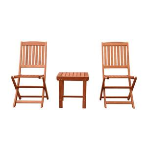 Vifah Malibu Wood Conversation Set with Folding Chair - 3 pcs
