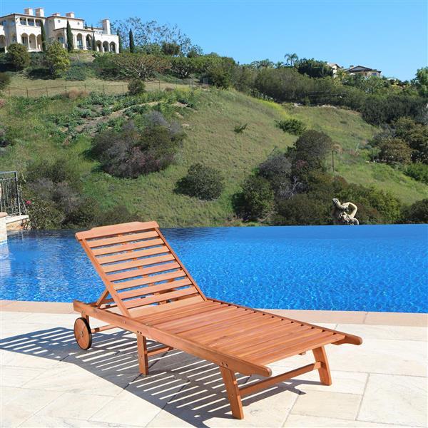 Vifah Malibu Outdoor Patio Wood Beach & Pool Lounge Set - 3 pcs