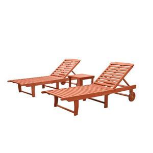 Ensemble de chaises longues avec table en bois Malibu de Vifah, 3 mcx