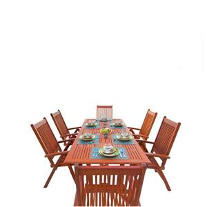 Vifah Malibu Dining Set Extension Table & Reclining Chairs - 7-pcs