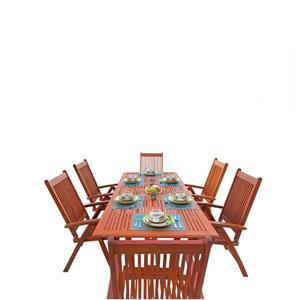 Ens. de table à manger d'extérieur extensible Malibu de Vifah, bois dur, 7 mcx