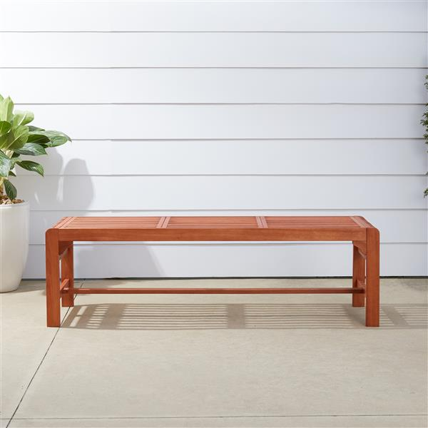 Vifah Malibu Outdoor Wood Backless Garden Bench, 5-ft