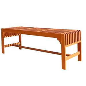 Vifah Malibu Outdoor Wood Backless Garden Bench, 5-ft