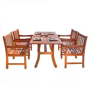 Vifah Malibu Outdoor Wood Dining Set with Curvy Leg Table - 5-pcs