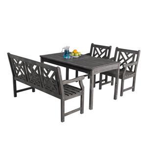 Vifah Renaissance Hand-scraped Dining Set and 4-foot Bench - 4-pcs