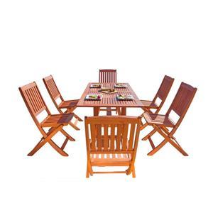 Vifah Malibu Wood Dining Set Curvy Leg Table & Folding Chairs - 7-pcs