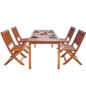 Vifah Malibu Outdoor Wood Dining Set with Folding Chairs - 5-pcs
