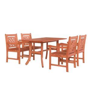 Ensemble de table rectangulaire à dîner Malibu de Vifah, 5 mcx