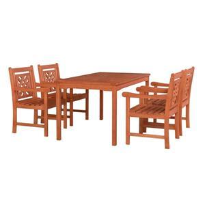 Vifah Malibu Outdoor Wood  Rectangular Table Dining Set - 5-pcs