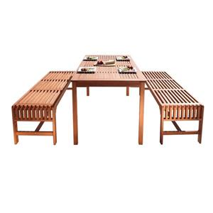 Vifah Malibu Outdoor Wood Dining Set with Backless Bench - 3-pcs