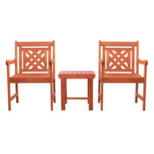 Vifah Malibu Outdoor Patio Wood Conversation Set -  3 pcs