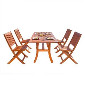 Vifah Malibu Wood Dining Set Curvy Leg Table & Folding Chairs - 5-pcs