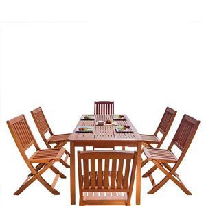 Vifah Malibu Outdoor Wood Dining Set with Folding Chairs - 7-pcs