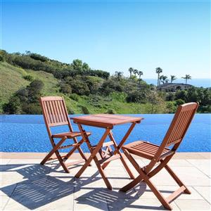 Vifah Malibu Outdoor Wood Patio Bistro Set - 3-pcs