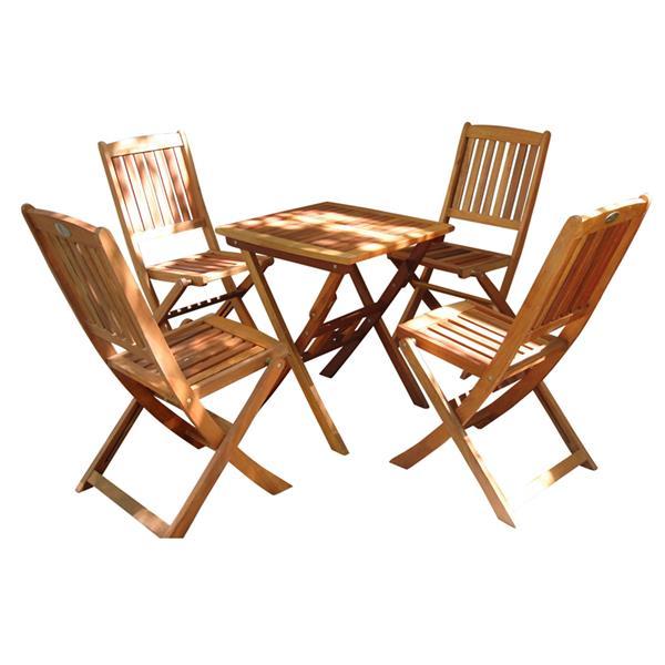 Vifah Malibu Outdoor Wood Patio Bistro Set - 5-pcs