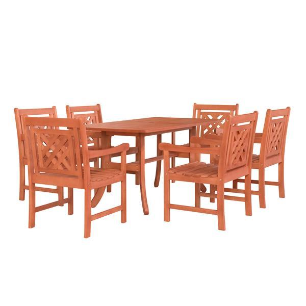 Vifah Malibu Outdoor Wood Curvy Legs Table Dining Set - 7-pcs