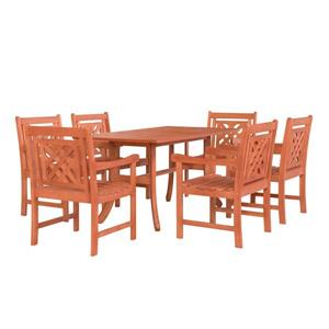 Vifah Malibu Outdoor Wood Curvy Legs Table Dining Set - 7-pcs