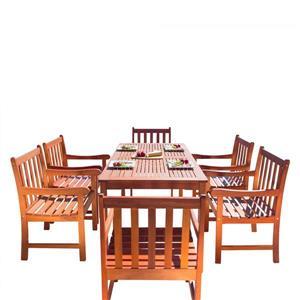 Vifah Malibu Outdoor Wood  Wood Patio Dining Set - 7-pcs