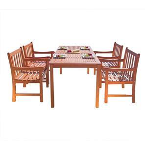 Vifah Malibu Outdoor Wood  Wood Patio Dining Set - 5-pcs