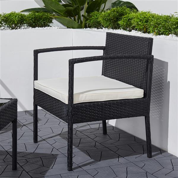Vifah Tierra Wicker Coffee Lounger Set - 3 pcs - Black