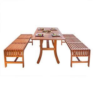 Ens. salle à manger Malibu de Vifah avec  banquettes sans dossier, 3 mcx