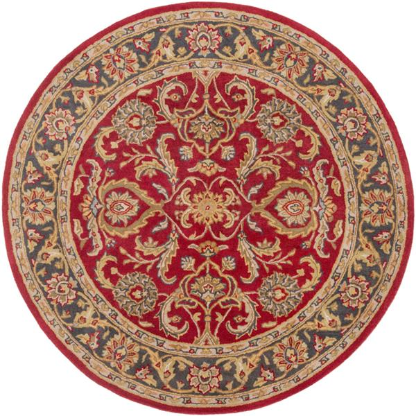 Surya Middleton Traditional Area Rug - 8-ft - Round - Red/Tan