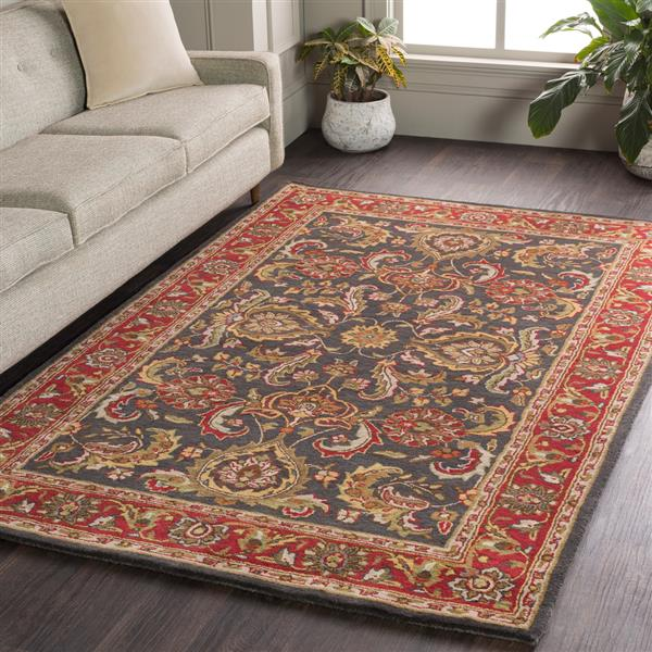 Surya Middleton Traditional Area Rug - 3-ft x 5-ft - Rectangular - Charcoal/Red